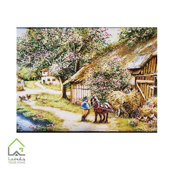 تابلو فرش دستباف طرح منظره روستایی