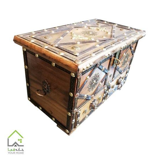 جعبه مستطیل برنج کاری شده با نوار چرم با دو کشو