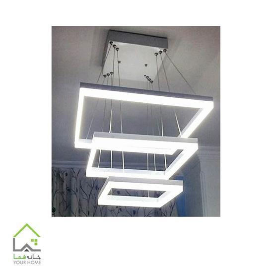 تصویر لوستر مدرن LED مربع سه طبقه ابعاد 405060