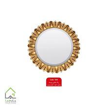 تصویر آینه گرد طلایی