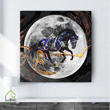 تابلو دیجیتال آرت طرح اسب و ماه