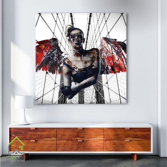 تابلو دیجیتال آرت طرح فرشته و شیطان