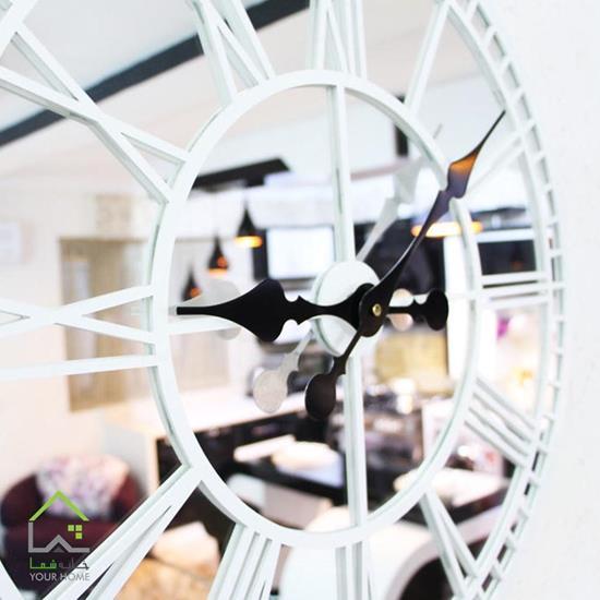 ساعت دیواری آینهای سفید