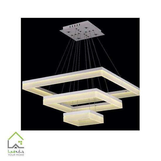 تصویر لوسترسقفی مدرن مربع ماد سه طبقه ابعاد 204060