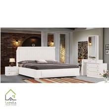 تصویر تخت خواب دو نفره چرمی