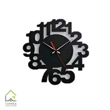 تصویر ساعت دیواری پلکسی مشکی طرح اعداد