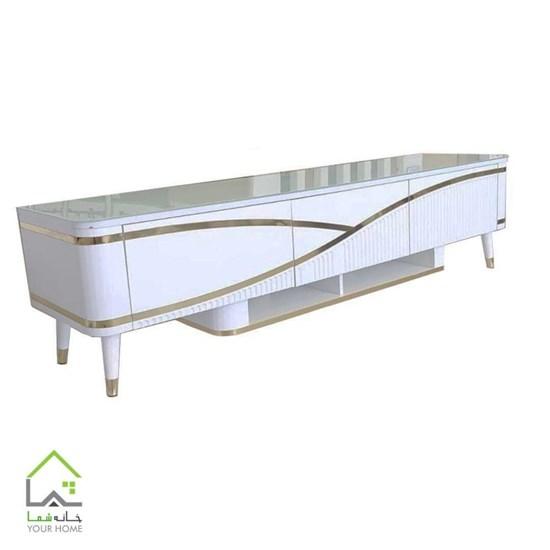 میز تلویزیون سفید هایگلاس 220180