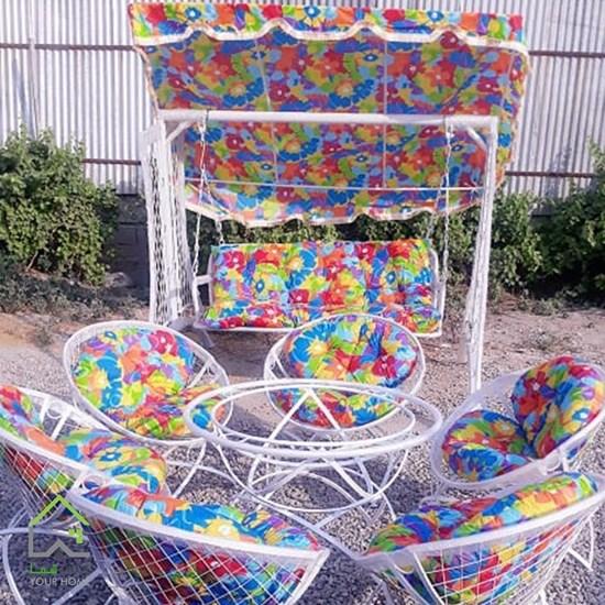 تصویر ست میز و صندلی باغی و تاب 3 نفره مدل مهتاب (الماس)