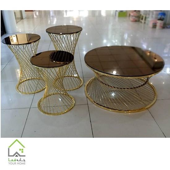 میز عسلی فلزی طلایی